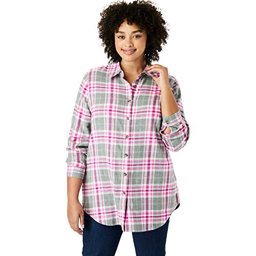 - Woman Within Women's Plus Size Classic Flannel Shirt - Pink Plaid, M