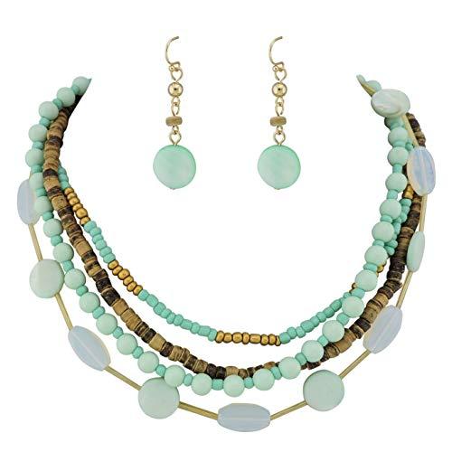 COIRIS 4 Multi Strand Beaded Statement Necklace Earrings for Women 17.5