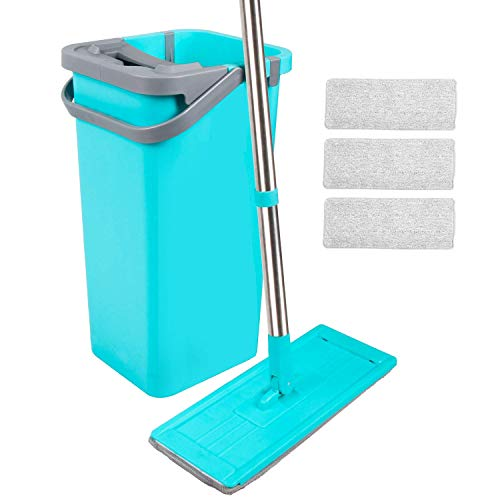 Moppson Flat Squeeze Mop and Bucket - Self Cleaning Hand-Free Wringing Floor Mop with 4 Machine Washable Flat Microfiber Mop Pads