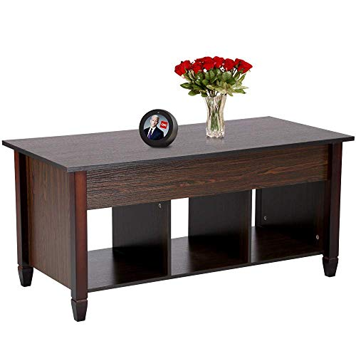 Yaheetech Living Room Lift Top Coffee Table with 3 Separated Lower Open Shelves