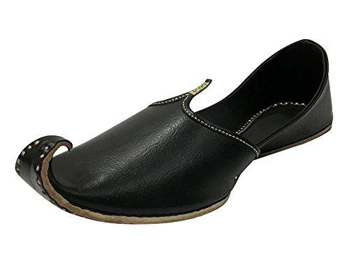 Black Style Men Juti Traditional Handmade n 7 Shoes Flops Step 11 Leather Flip 5 Khussa 5XHUY6wq