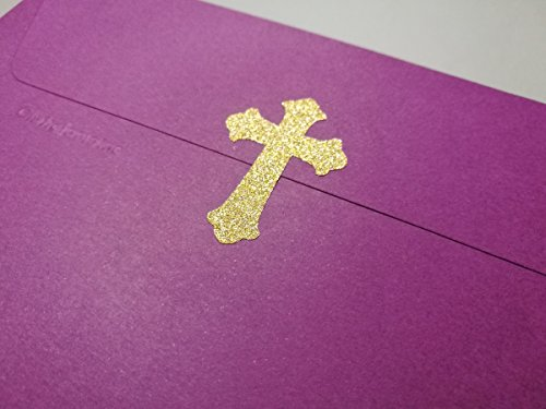 Seal Homes Gold (20 Glitter Cross Stickers baptism Décor Envelope Seals Christian Gold or Silver Vinyl Craft DIY Small 2'' tall)