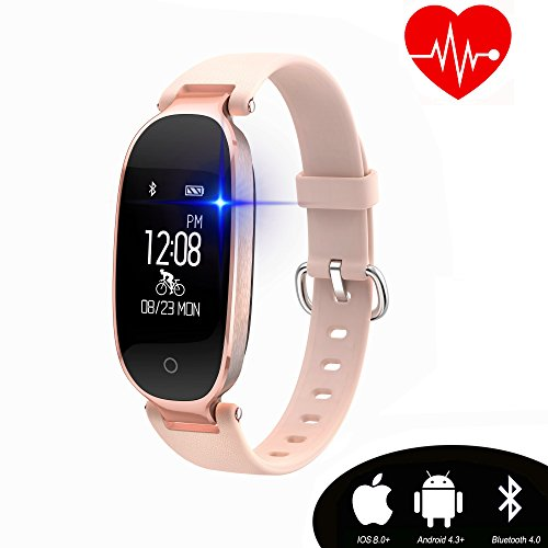 Kingkok Elegant Waterproof Fitness Tracker for Women Smart Bluetooth Pedometer Watch Band Multi-mode Wireless Activity Tracker Bracelet [Rosegold] - Fitness Digital Watch