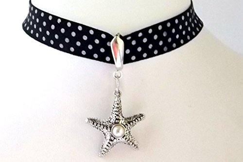 [Silver-tone Starfish Ribbon Pendant Choker- Ocean Lovers Collection -] (Easy Starfish Costume)