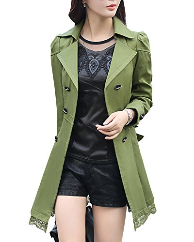 Long Manteau Double Dentelle DianShao Breasted Vert Trench en Ceinture Bowknot Arm Hem q8I8Ew