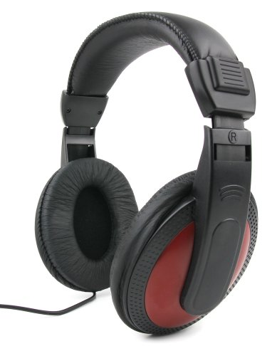 DURAGADGET Lightweight, Passive Noise-Cancelling, Supreme Comfort, Black/Red Stereo Over-Ear Headphones for the Casio CTK3200/781071 SA-76/CTK-1200/SA-47H7/CTK2400/Yamaha PSR-E353/PSR-E443 by DURAGADGET