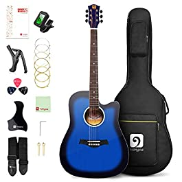 Vangoa Acoustic Guitar 41 inch, Full Size Cutaway Acoustic Guitar Kit with Padded Case, Tuner, Strap, Picks, Capo, Extra…