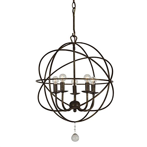 Crystorama 9224-EB Transitional Five Light Mini Chandelier from Solaris collection in Bronze/Darkfinish, 17.00 inches ()