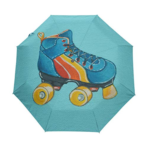 Roller Skate Painting Compact Travel Umbrella Automatic Waterproof  Reinforced Canopy for Men and Women Traveler