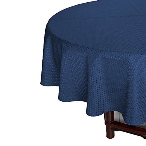 Navy Blue Waffle Weave Table Cloth 70 Inch Round for Holiday Parties, Durable Waterproof Fabric Table Cover Stain Resistant Spill Proof ()