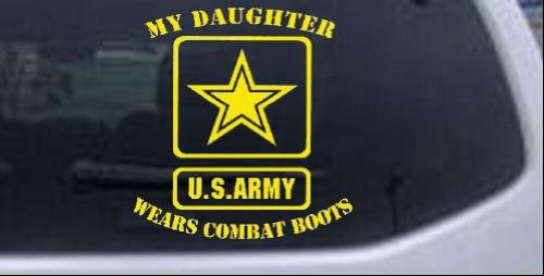 My Daughter Wears Combat Boots Army Military Car Window Wall Laptop Decal Sticker -- Yellow 6in X 5.6in ()