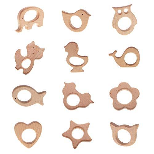 Shape Baby Teethers - FRECI 12pcs Wooden Teething Toys Animal Shape Baby Teether Teething Toy Shower Gift