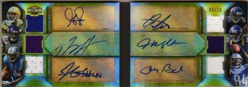2012 T Autograph Relic Combos Gold #TTARDC7 Broyles Greg Jennings Percy Harvin J Best Alshon Jeffery J Wright Auto Jersey/18