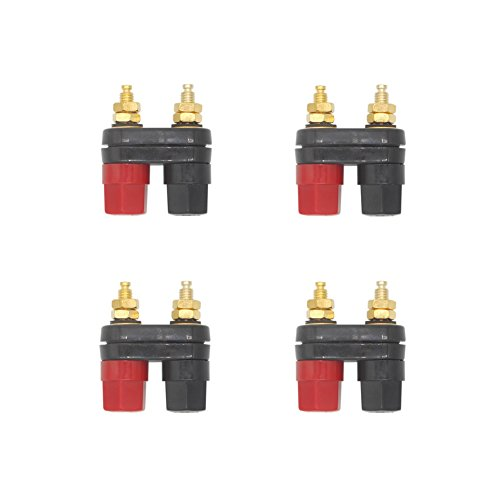 Eightnoo 4Pcs Black and Red Plastic Shell 4mm Speaker Terminal Binding Post Power Amplifier Dual 2-Way Banana Plug Jack for Speaker Amplifier ()