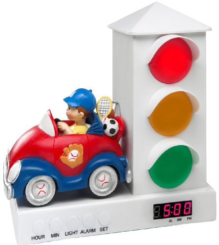 Stoplight Sleep Enhancing Alarm Clock for Kids, Red and Blue Sports Car (Time Night Light)