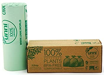 Unni ASTM6400 Certified 100% Compostable Bags, 3 Gallon, 20 count, Extra Thick 0.71 Mils, Small Kitchen Trash Bags, Biodegradable Food Scraps Yard Waste Bags, US BPI and European VINCOTTE Certificated