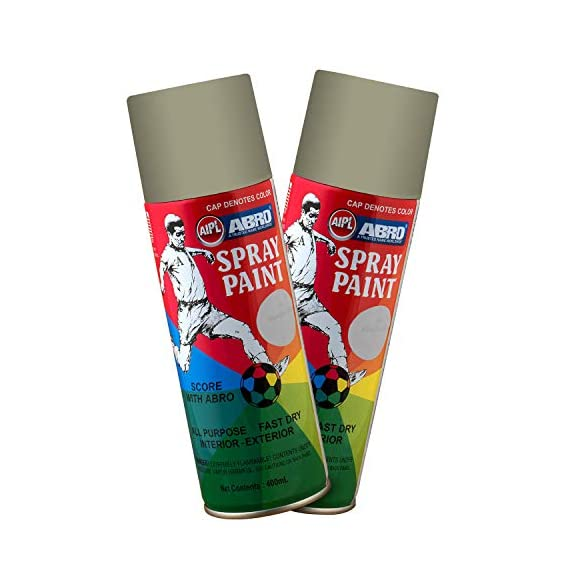 ABRO SP-91 Multipurpose Colour Spray Paint Can for Cars and Bikes (Grey, 400ml, 2 PCS)