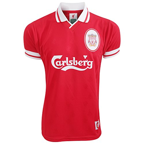 Liverpool FC Mens Official 1996 Retro Football Shirt (XX-Large) (Red/White)