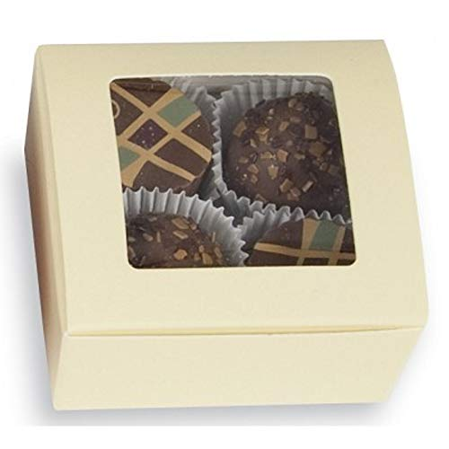 Cream Square 4 pc. Truffle Boxes with Window - 2 5/8 x 2 1/2 x1 1/4in. (25) ()