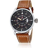 Men's Waterproof PU Leather Watch Casual Quartz Wrist Watches (9044yellow)