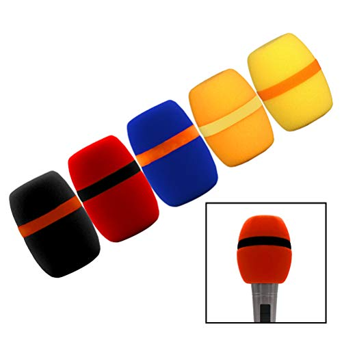 Thick Microphone Cover, Cooyeah Reusable Colorful Handheld Stage Microphone Windscreen Foam Cover Set for Karaoke DJ-5 Pack