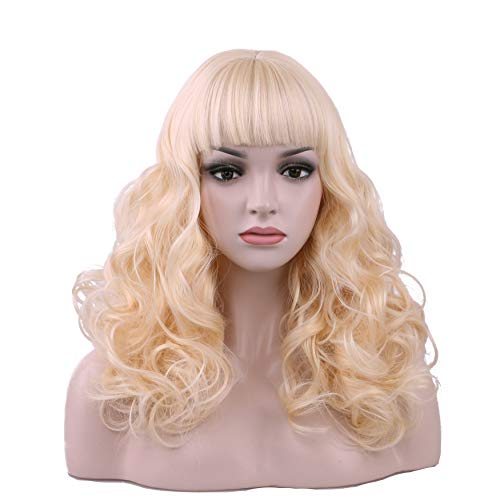 Yilys Long Curly Blonde Wig Fluffy Breathable Hair With Bang For Woman