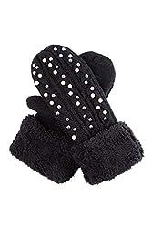Black Mittens Gloves Fleece Cuffs & Rhinestone Studded
