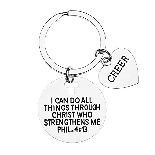 Cheer Charm Keychain, Christian Faith Charm Keychain, I Can Do All Things Through Christ Who Strengthens Me Phil. 4:13 Scripture Jewelry, Cheerleading Gift for Women, Teens and Girls