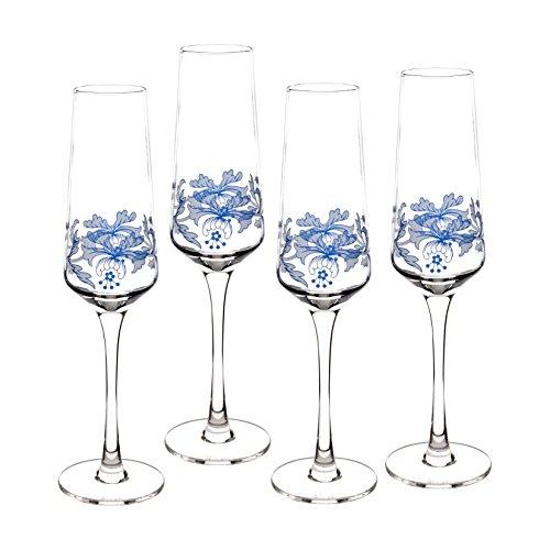 Spode Blue Italian Glassware Champagne Flutes, S/4]()