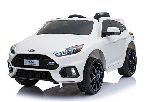 Coche Electrico para Niños Auto Alimentado con Batería Vehículo Eléctrico Control Remoto - Ford Focus RS - Blanco: Amazon.es: Juguetes y juegos