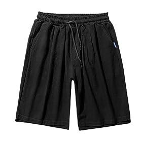 TANLANG Men Summer Quick Dry Linen 3/4 Capri Outdoor Hiking Pant Casual Drawstring Leisure Vacation Surf Beachwear Shorts
