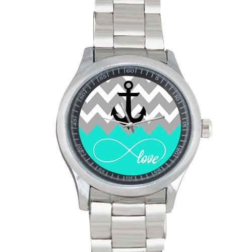 Love Infinity Forever Love Symbol Chevron Pattern with Nautical Anchor Turquoise Grey White Metal Watch(40mm dia,stainless band)