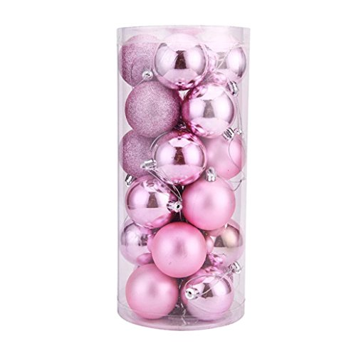 Tuscom 24Pcs Christmas 5CM Balls Baubles Party Xmas Tree Decorations Hanging Ornament Decor (Pink)