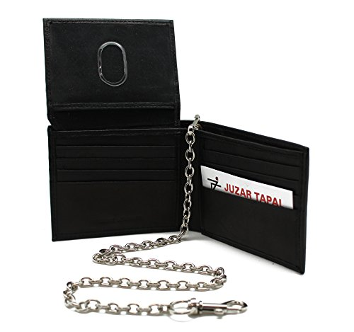 Bikers R.F.I.D Genuine Leather Black Bi-fold Chain Wallet JTC-521-BFRF Thumb ID