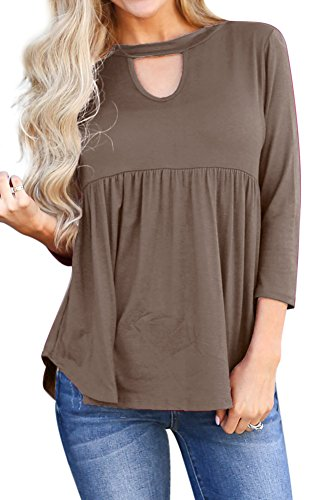 Pleated Blouse Chest Cutout Solid Color Shirts 3/5 Sleeve Cotton Tunic Tops Coffee L (Cut Out Solid Cotton)