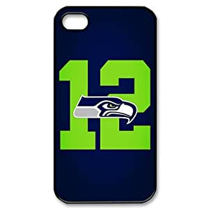 Custom Cover NFL Seattle Seahawks 12th MAN NO.12 for iPhone 4/4S Hard Plastic Case