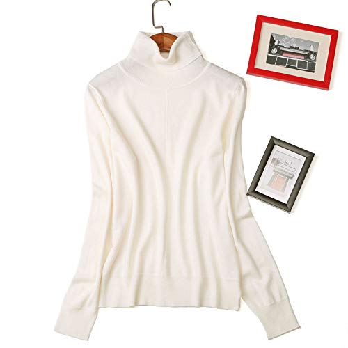 Femenina Suéter Camisa Mujer Con Alta Nighout Camiseta Alto Falda Cuello Mullido Delgada Blanco Versión 87qRHZx