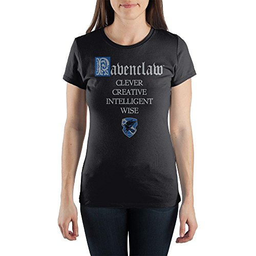 Harry Potter House of Ravenclaw Crest & Characteristics Clever Creative Intelligent Wise Juniors Black Tee T-Shirt Shirt-XX-Large