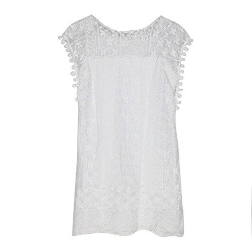 Dress White Casual Chen Tassel Party Lace Sexy Sleeveless Beach Summer Women 7xU1BqP