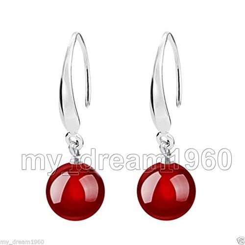 FidgetKute 10mm Red Jade Gemstone Silver Dangle Hook Earrings ()