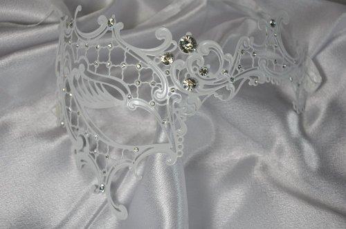 White Phantom Half Venetian Masquerade Mask with Luxurious Crystal Rhinestones (Venetian Half Mask)