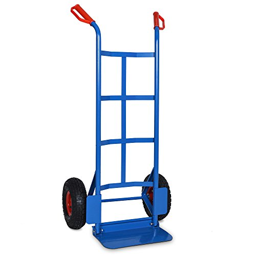 Deuba Folding Sack Truck Heavy Duty Industrial Steel Hand Trolley Barrow Cart Pneumatic Tyres 440 Lbs 200 KG Capacity