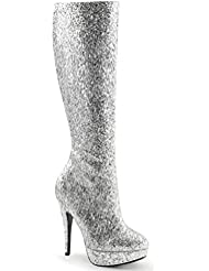 Summitfashions Womens Knee High Silver Glitter Boots with 5 Heels and 1 Platform