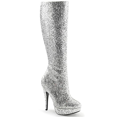 Summitfashions Womens Knee High Silver Glitter Boots with 5'' Heels and 1'' Platform Size: 8 - 5 Inch Silver High Heel