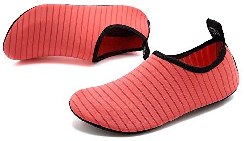 Anluke Sport Acquatici Scarpe A Piedi Nudi Quick-dry Aqua Yoga Calze Slip-on Per Uomo Donna Bambini F Rosa / Solido