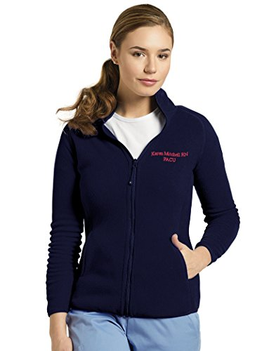 White Cross Custom Embroidered Polar Fleece Zip Front Sport Jacket by Scrubs (Custom Embroidered Fleece Jacket)