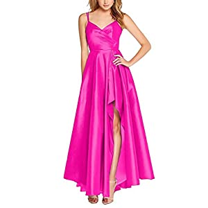2dc5e35b40 AnnaApparel Women s Spaghetti Strap High Low Satin Prom Dresses Formal  Evening Party Gowns