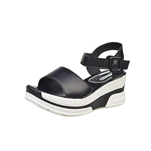 SKY Comfortable to wear it !!! Zapatos de mujer Sandalias de verano Peep-toe Low Shoes Sandalias romanas Flip Flops 5cm heel Negro