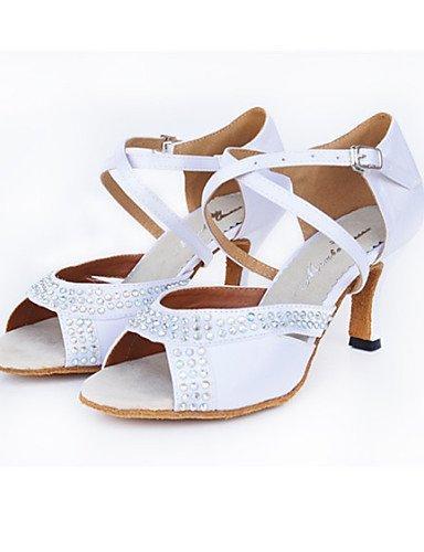 Personnalisables Blanc Satin Latine Moderne de White Talon Chaussures Aiguille ShangYi danse aAnIxq0