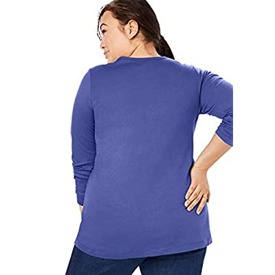 Woman Within Women's Plus Size Perfect Crewneck Long Sleeve Tee at Women's Clothing store